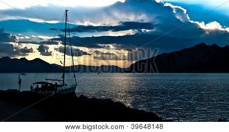 Yacht At Sunset In Greece