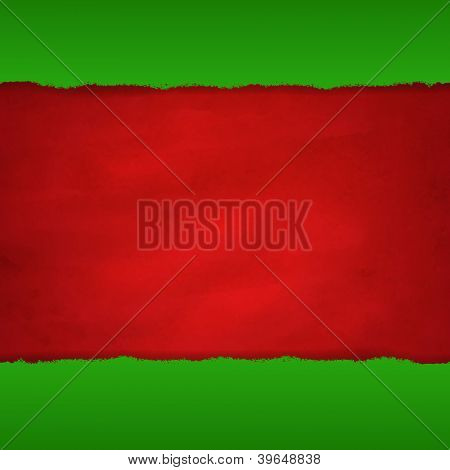 Rip Green Paper And Retro Red Background With Gradient Mesh, Vector Illustration