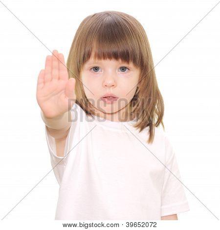 Baby Girl Gestures Stop Hand Sign