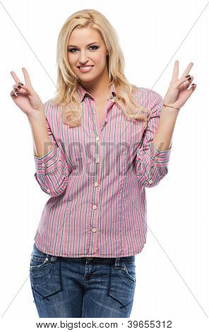 Beautiful Young Woman Smiling While Giving Peace Sign