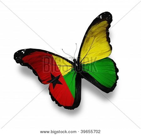 Guinea-bissau Flag Butterfly, Isolated On White