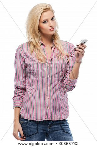 Serious Blonde Woman With Cellphone