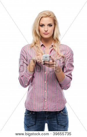 Blonde Woman With Her Cellphone In Studio