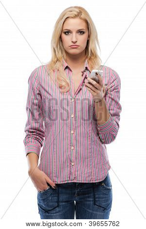 Sad Blonde Woman Holding Her Cellphone