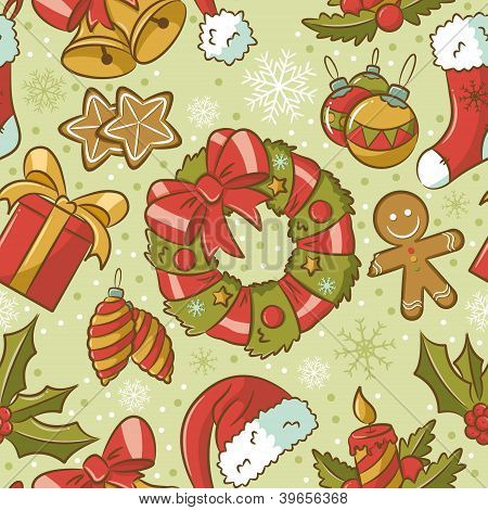 Christmas Seamless Pattern Vintage Style