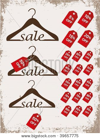 Set of hangers with tags