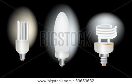 illustration with set of lamps on black background