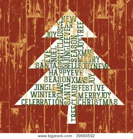 Christmas tree words composition. Raster version, vector file available in portfolio.