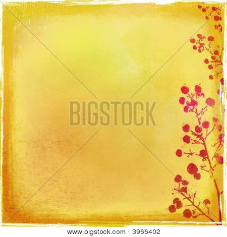 Distressed Backdrop With Foliage