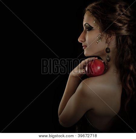 Portrait Seductive Posing Girl With Apple