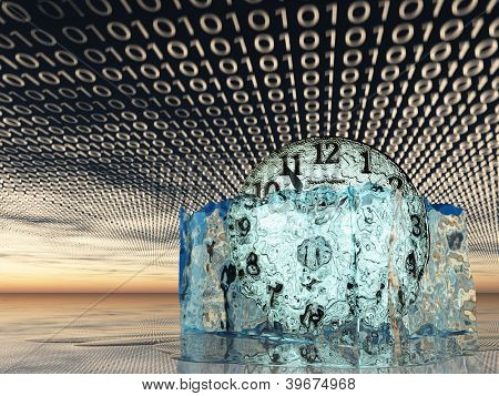Clock in melting ice with binary code