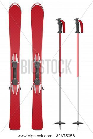 Ski And Sticks Vector Illustration