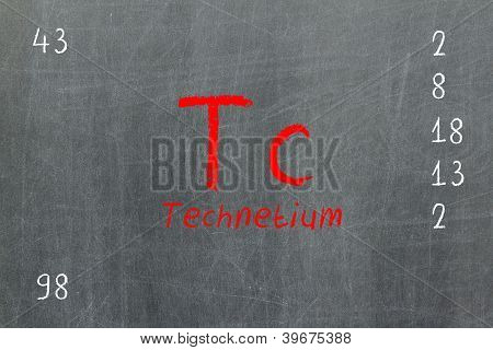 Isolated Blackboard With Periodic Table, Technetium
