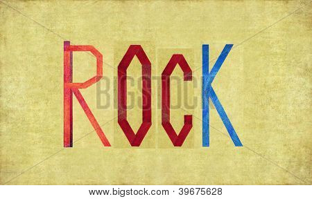 Earthy background image and design element depicting the word ROCK
