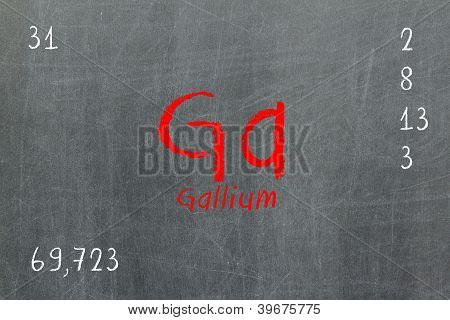 Isolated Blackboard With Periodic Table, Gallium