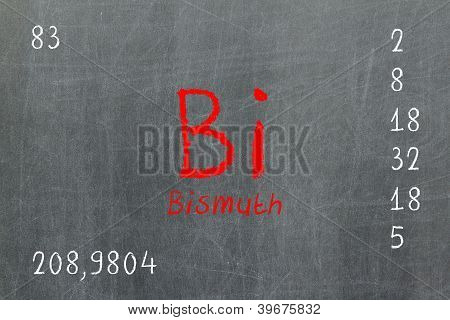 Isolated Blackboard With Periodic Table, Bismuth