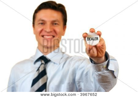 Businessman Holding A Dealer Sign,Clipping Path Included