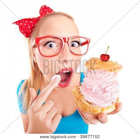 Funny Girl Essen eine Cream puff