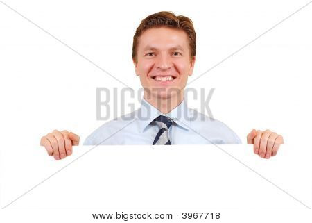 Confident Business Man Holding A White Board For Copy-Space
