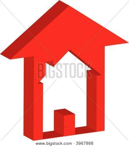 House Inside Up Arrow 3D