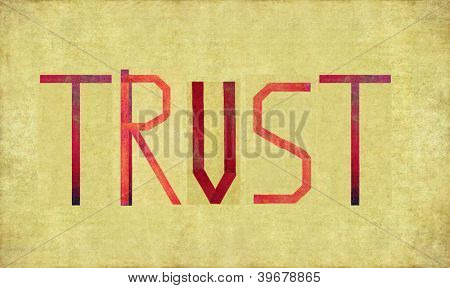Earthy background image and design element depicting the word TRUST