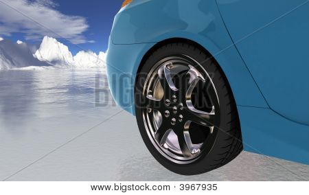 Blue Sport Car On Thin Ice , Rear Wheel