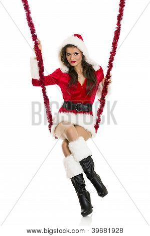Santa Girl On A Swing