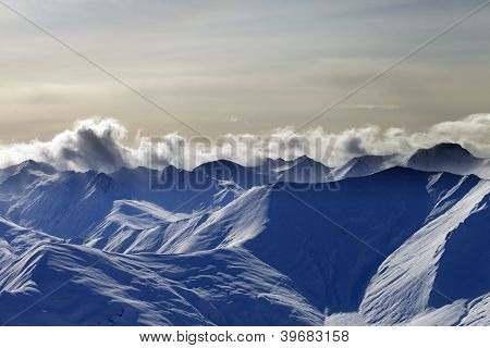 Snow Mountains In Evening