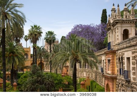 Garden Of The Alcazar In Seville, Spain