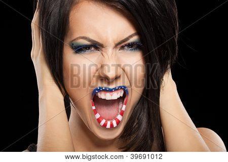 Mujer hermosa cara con maquillaje perfecto