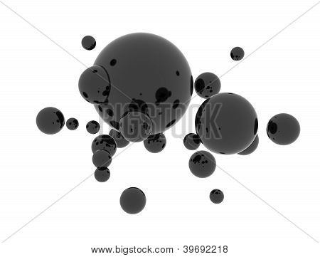 Oil Abstract Black Spheres