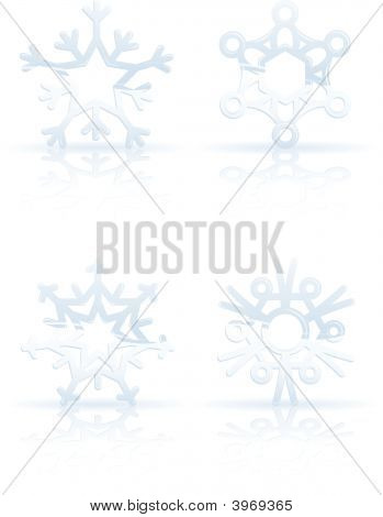 3D Ice Snowflake Icons