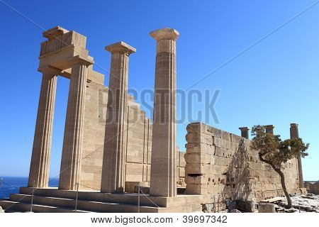 Columns Of Doric Temple Of Athena Lindia