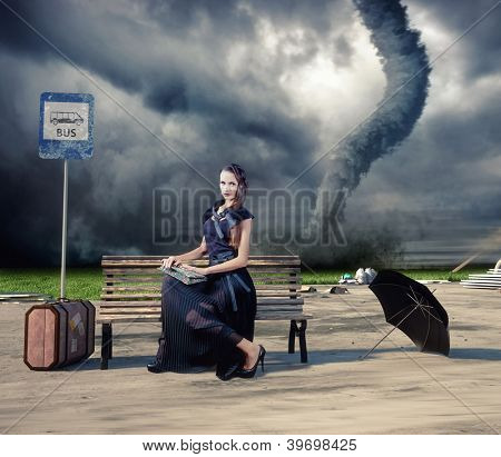 woman,waiting a bus and tornado (photo and hand-drawing elements compilation)
