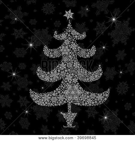 Christmas tree silhouette. Raster version, vector file available in portfolio.