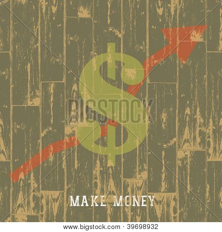 Dollar sign with arrow, business growing concept. Raster version, vector file available in portfolio.