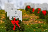 stock photo of arlington cemetery  - Headstones in Christmas time in Arlington National Cemetery  - JPG