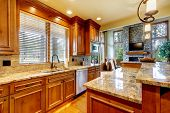 stock photo of stool  - Mountain luxury home with wood kitchen and granite countertop - JPG