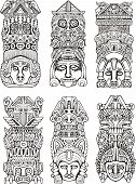 image of indian totem pole  - Abstract mesoamerican aztec totem poles - JPG