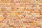 stock photo of trapezoid  - pattern color of modern style design decorative red slate stone wall surface with cement in trapezoid shape - JPG