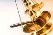 stock photo of scales justice  - Wooden justice gavel and block with brass - JPG