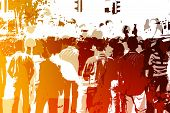 stock photo of peer-pressure  - Crowd Abstract Background in Colors and White - JPG