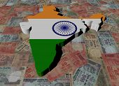 stock photo of indian money  - India Map flag on Indian Rupees illustration - JPG