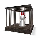 stock photo of mohawk  - simple character mohawk tie in cage  - JPG