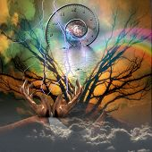 picture of shaman  - Surreal artisitc image with time spiral - JPG