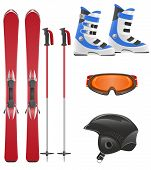 picture of ski boots  - ski equipment icon set vector illustration isolated on white background - JPG