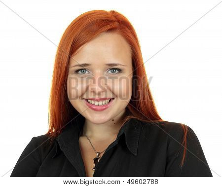 Redhead business woman closeup face portrait over white background
