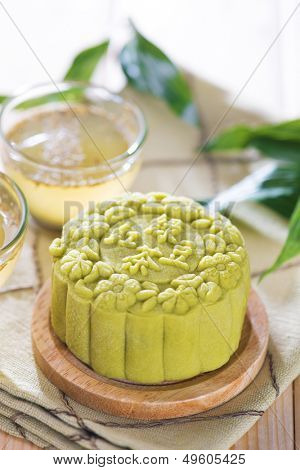 Traditional Chinese mid autumn festival food. Snowy skin mooncakes.  The Chinese words on the mooncakes means green tea with red bean paste, not a logo or trademark.
