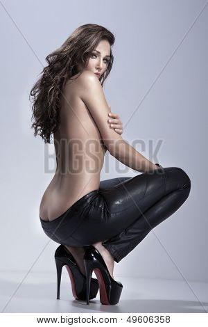 Sensual Brunette Lady Posing, Looking At Camera.