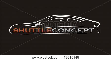 Silhouette Of The  Car On A Black Background. Vector Art.